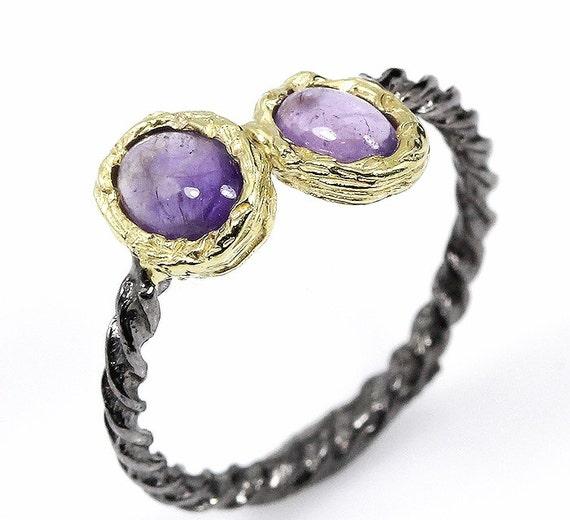 Natural 11 TCW Amethyst gemstones,  Black Rhodium, 14kt yellow gold Ring Size 8 1/2
