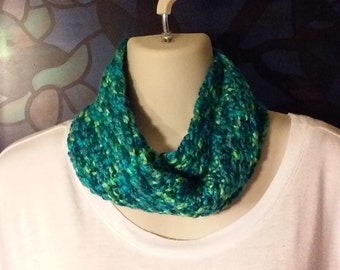 Crochet Infinity Scarf - Dark Blue, Turquoise, Olive Green and Neon Green