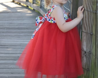Girls Tutu Knot Dress Reverse Knot Style Blueberries and Strawberries Baby Infant Toddler