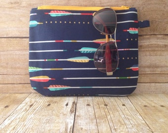 Arrow Zipper Pouch - Navy and Yellow - Zippered Clutch - Large Wristlet - Large Pencil Pouch