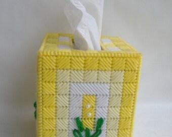 Yellow Plastic Canvas Tissue Box Cover