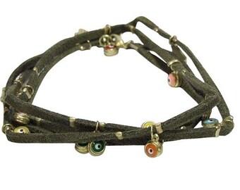 Handcrafted Scattered Multi Evil Eyes Wrap Bracelet 652B0550
