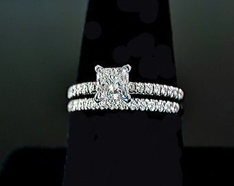 Diamond Engagement (2) Rings Set PT950 1.46 ctw Certificate size 6.75