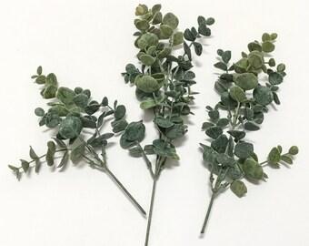 3 Green Plastic Eucalyptus Stems - Plastic Greenery - Artificial Filler, Artificial Leaves, Flower Crown, Millinery, Wedding Flowers