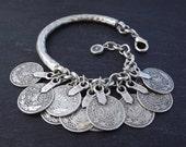 Silver Coin Chain Bar Bracelet - Tribal Ethnic Statement Bracelet - Authentic Turkish Style
