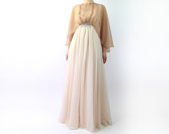 VINTAGE Nude Gown Chiffon Maxi Dress