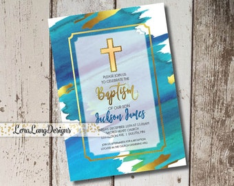 Printable Watercolor Baptism Invitation, Watercolor Christening invitation, Boy Baptism Invite, Christian Invitation, Religious Invitation