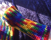 Rainbow colored arm warmers fingerless gloves