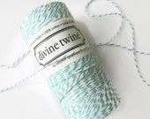 Teal & White Striped Bakers Twine - Divine Twine - Crafting - Invitation Wrapping String - Scrapbooking - Packaging - Full Spool - 200 Yards