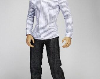 mc0233 Men's Fashion Design White Blue Shirt Set (Belt + Jeans + Shirt + Shoes)  for 1/6 Action Figure