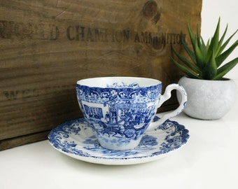 Johnson Bros Teacup & Saucer / Coaching Scenes / Blue and White