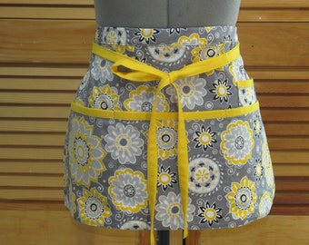 Happy Yellow and Grey Flowers - Teacher Crafter Vendor Utility Apron