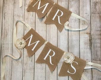 Mr and Mrs, Burlap, Wedding, banner, Flowers, sign, bride, groom, wedding day