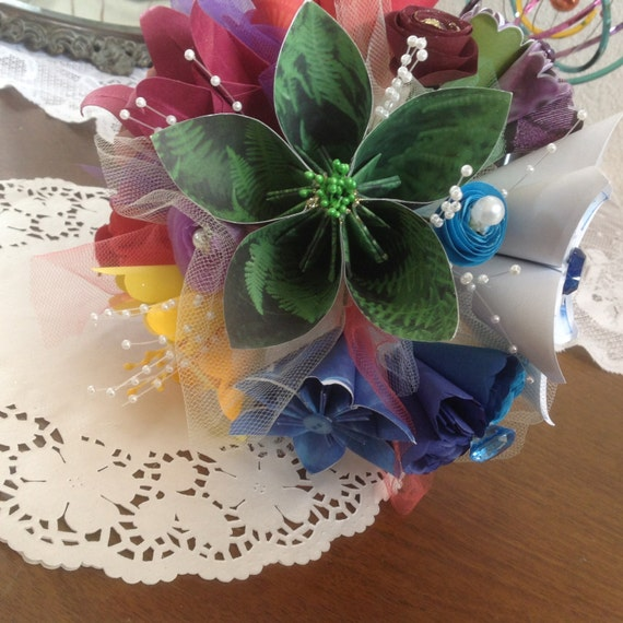 Rainbow Paper Flower Alternative Bouquet Origami Style