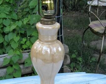 Vintage Peach Lusterware Table Lamp 1940's LIghting Mid Century Cottage Style