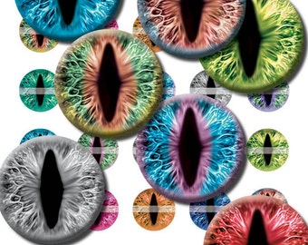 30mm Narrow Cat or Dragon Eye Designs Digital Collage Sheet for Jewelry Making Sculptures or Scrapboooking with Bright Colorful Iris