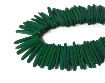 Green Wood spike beads, top drilled coconut palm sticks, full strand (1153R)
