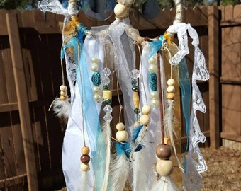 Custom Owl Dream Catcher small white brown turquoise