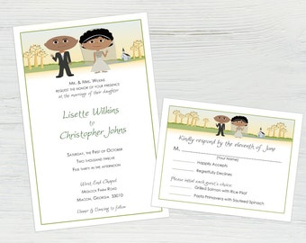 Fall Wedding Invitation Set — Featuring You and Your Groom as Cartoons! Fall Wedding Ideas, Fall Invitations, Wedding Invitation Fall