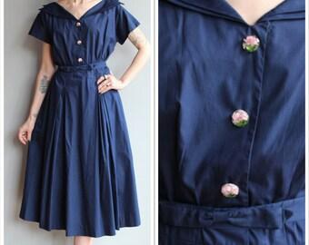 1950s Dress // Jean Lang Carnation Bloom Dress // vintage 50s dress