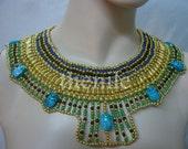 xXL Stunning Egyptian handmade beaded Cleopatra Collar  necklace Mega Sale