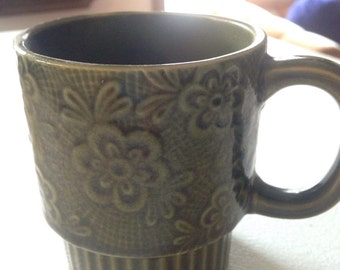 1970s Era Green Ceramic Coffee Tea Mug floral Made in Japan