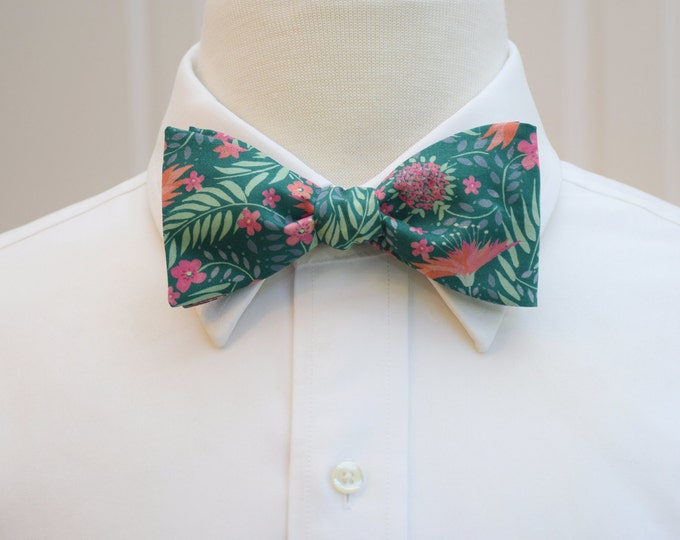 Men's Bow Tie, Liberty of London, teal/sage/pink floral Delilah print bow tie, groomsmen/groom bow tie, wedding bow tie, tux accessory