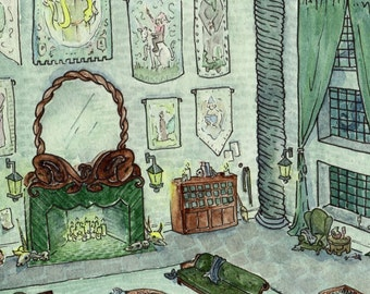 "Harry Potter Fan Art - ""Whose Ancestry is Purest"" (Slytherin Common Room)"