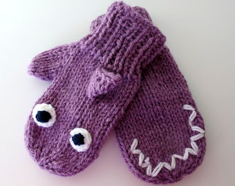 Lily the Lavender Shark Mittens