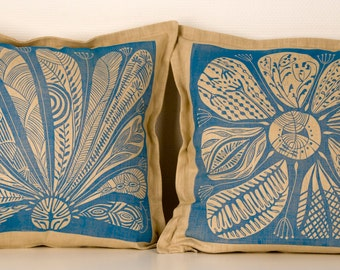 linocut,set of 2, cushion covers, hand printed, decorative pillow, flowers, blue, home interior, printmaking, beige, linen