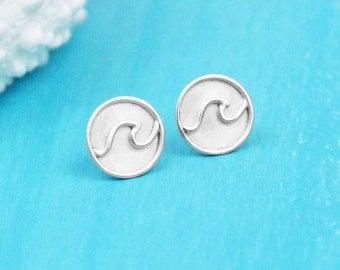 Wave Earrings - Stud Earrings - Sterling Silver - Wave Jewelry - Nautical Jewelry - Ocean Jewelry - Beach Jewelry