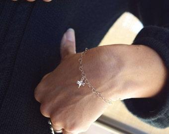 Dragonfly bracelet heart links chain bracelet sterling silver boho bohemian jewelry