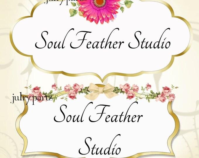 LOGO in Elegant Pinks•Premade Logo•Jewelry Card Logo•Flower Logo•Custom Logo•Pink Rose Swag and Hot Pink Daisy