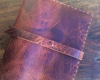 Leather notebook binder, Leather pocket folders, Handmade leather portfolio binder, Handmade portfolio folder, 3 ring binder 2 pocket folder
