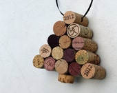 Wine Cork Tree Ornament - recycled  corks - holiday ornament - Christmas tree