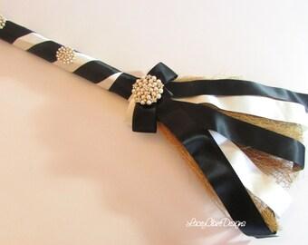 Wedding Jumping Broom, Wedding Broom, African American Jump Broom Black and Ivory Custom Made