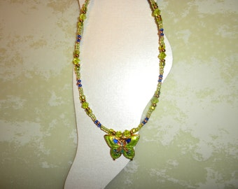 Lime Green And Gold Cloissone Butterfly Ankle Bracelet