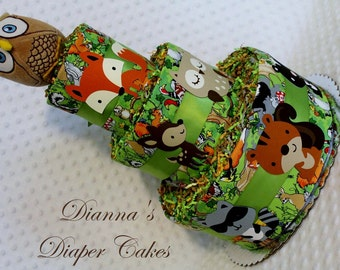Woodland Animals Baby Diaper Cake Shower Gift Centerpiece Select Topper Neutral