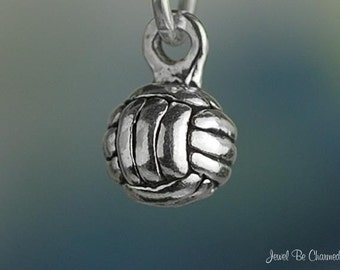 Miniature Sterling Silver Volleyball Charm Ball Tiny 3D Solid .925