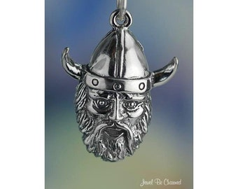 Sterling Silver Viking Charm Warrior Head Norse Scandinavian Solid 925
