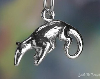 Sterling Silver Anteater Charm Tamandua Anteaters Animal 3D Solid .925
