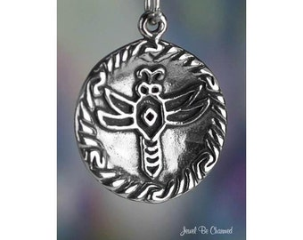 Sterling Silver Native American Pottery Plate Dragonfly Charm .925