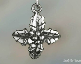 Holly Charm Sterling Silver Leaves Cluster Berries Christmas Solid 925