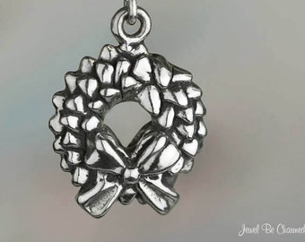 Sterling Silver Christmas Wreath Charm Pine with Bow Holiday Solid 925