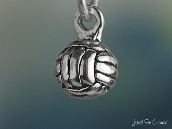 Volleyball Charm Miniature Sterling Silver 3D Ball Very Small Tiny 925