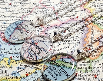CUSTOM Vintage Map Necklace. You Select Location Worldwide. One Necklace. Silver Map Pendant. Map Jewelry. Travel Gifts. Hometown Christmas.