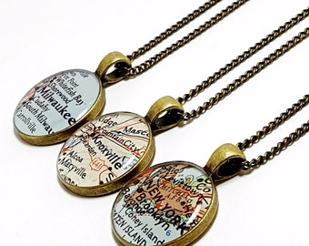 CUSTOM Vintage Map Necklace. You Select Location. Anywhere In The World. One Necklace. Map Jewelry. Personalized. Gifts For Women. Birthday