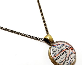 Minneapolis, Minnesota 1951 Vintage Map Necklace. Ready To Ship. Map Pendant. Map Jewelry. Minneapolis Map Gifts For Her.