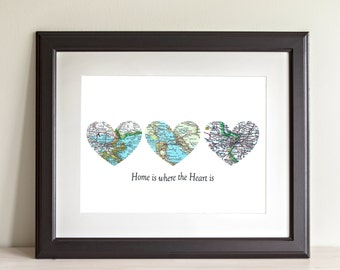 CUSTOM Three Heart Map Art Print. Home Is Where The Heart Is. Print Only. You Select Locations Worldwide and Personaized Text.