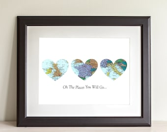 CUSTOM Three Heart Map Art Print. Oh The Places You Will Go. Print Only. You Select Locations Worldwide And Personaized Text. Bucket List.